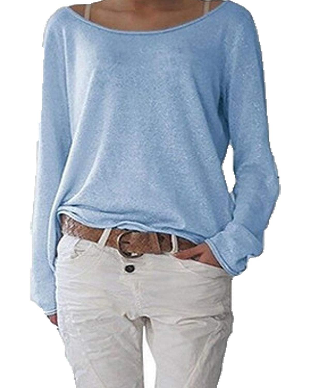 Damen Langarm T-Shirt Rundhals Ausschnitt Lose Bluse Hemd Pullover Oversize Sweatshirt Oberteil Tops