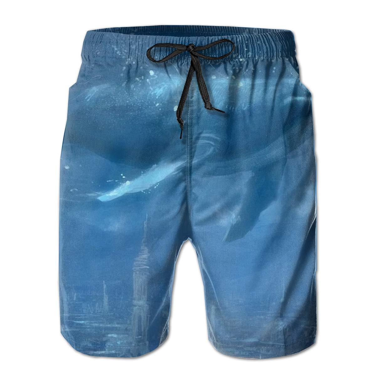 Big Shark Summer Holiday Mesh Lining Swimwear Board Shorts with Pockets Mens Beach Shorts Quick Dry