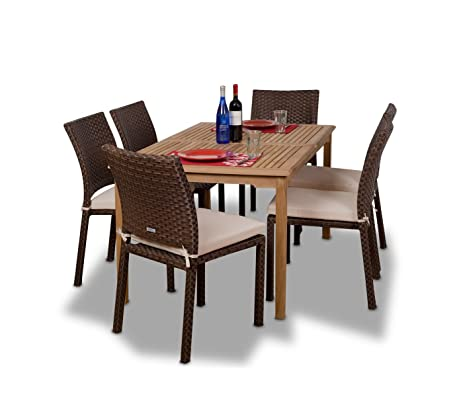 Amazonia Teak Luxemburg 7 Piece Teak/Wicker Rectangular Dining Set