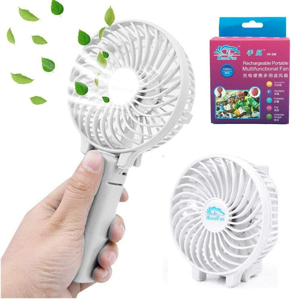 Kingcenton Foldable Mini Handheld Fan, 2000 mAh Rechargeable Battery Operated, with Humanized Handgrip Design Portable Clip Design for Home, Office, BBQ, Pram, Camping and Travel White
