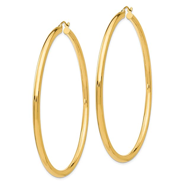 "Designs by Nathan, Classic 14K Yellow Gold Tube Hoop Earrings: Seamless, Hollow, and Lightweight (Wide 3mm x 65mm (about 2 3/8""))"