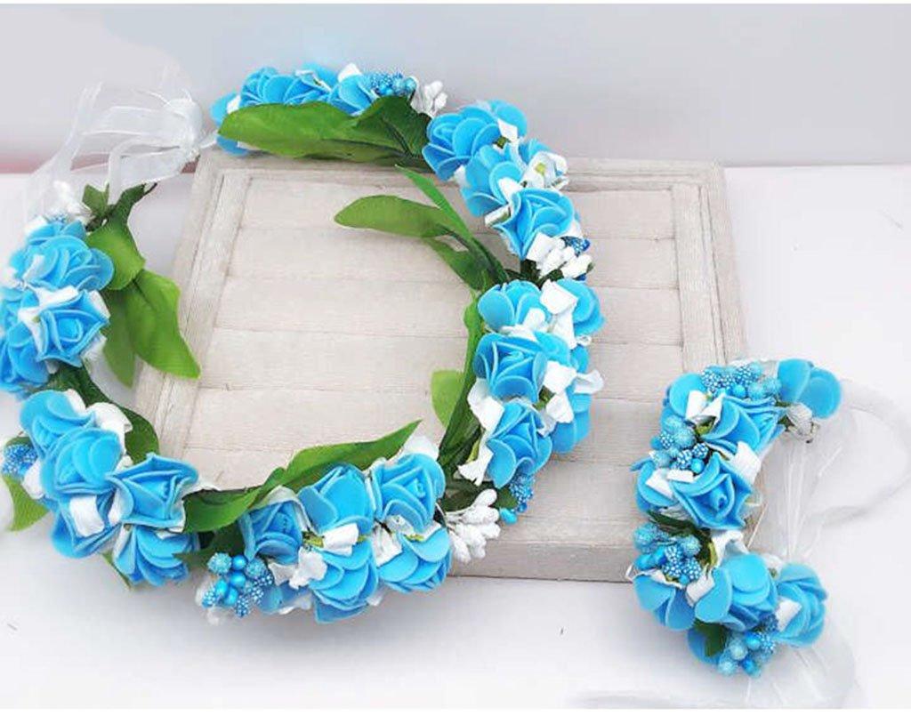 Wreath Flower, Headband Flower Garland Handmade Wedding Bride Party Ribbon Headband Wristband Hairband Blue/Pink/Purple (Color : Blue)