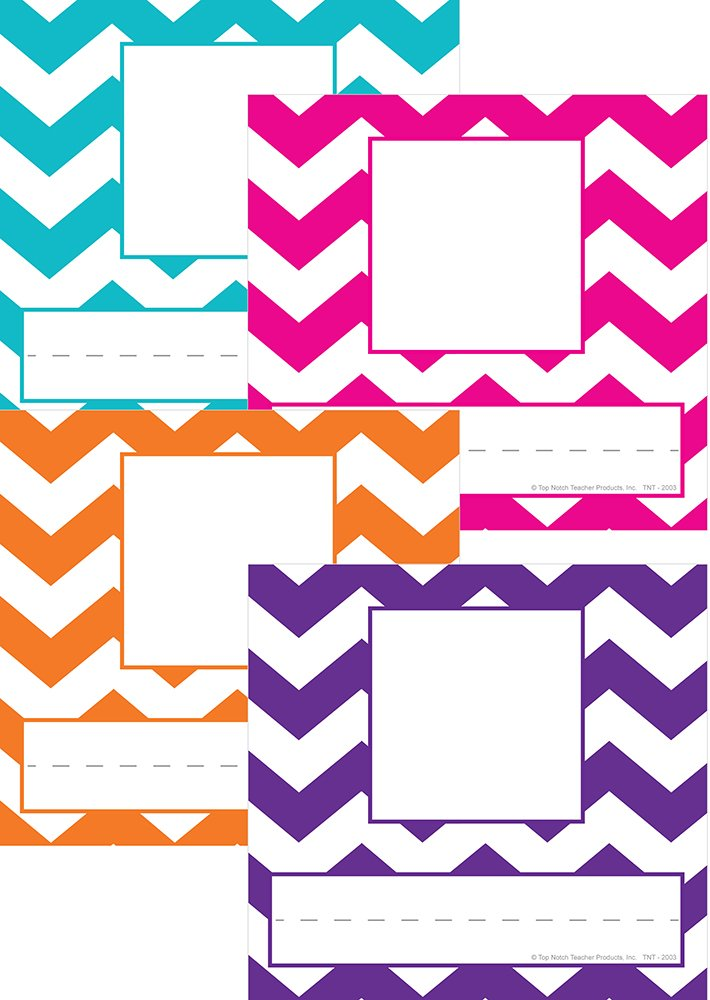 Top Notch Teacher Products TNT2003 Picture Plates, Chevron Assorted Colors, (Pack of 32)
