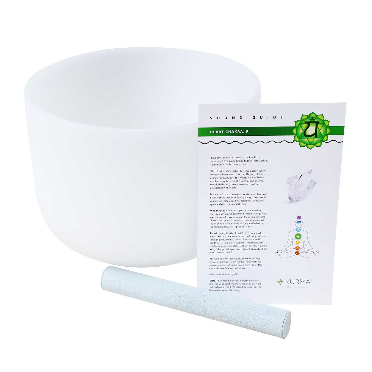Crystal Singing Bowl F Note Heart Chakra 10 Inch, Suede Mallet Included, Highest Quality Sound and Material