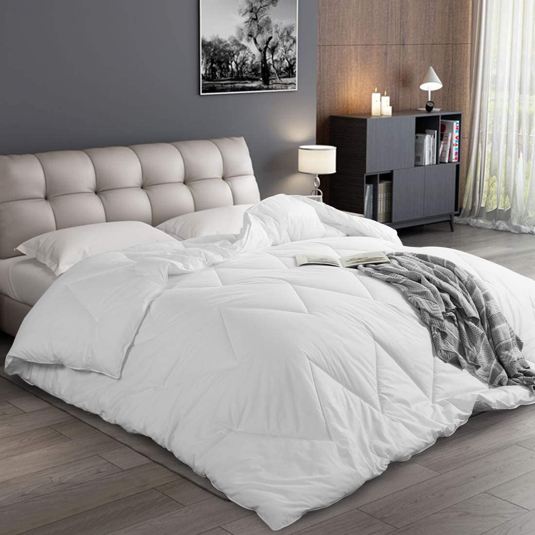 Abakan Luxury Down Alternative Comforter Twin Size 100% Cotton Soft Bedding Summer Comforter Lightweight Hypo-allergenic Hotel Duvet Insert with Corner Tabs 64x88 inch White