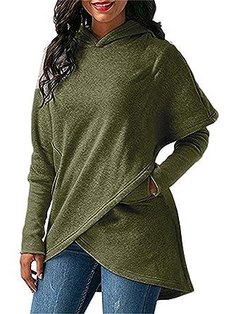 Ferbia Hoodie Women Army Green Oversized Asymmetrical Lightweight Womens  Hooded Sweatshirt Pullover Hoodies