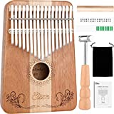 Kalimba,Eison Kalimba Thumb Piano Finger Piano 17 keys with Key Locking System with Instruction and Tune Hammer, Solid Wood Mahogany & Maple Body- Best Gift for Music Fans Kids Adults,E-17