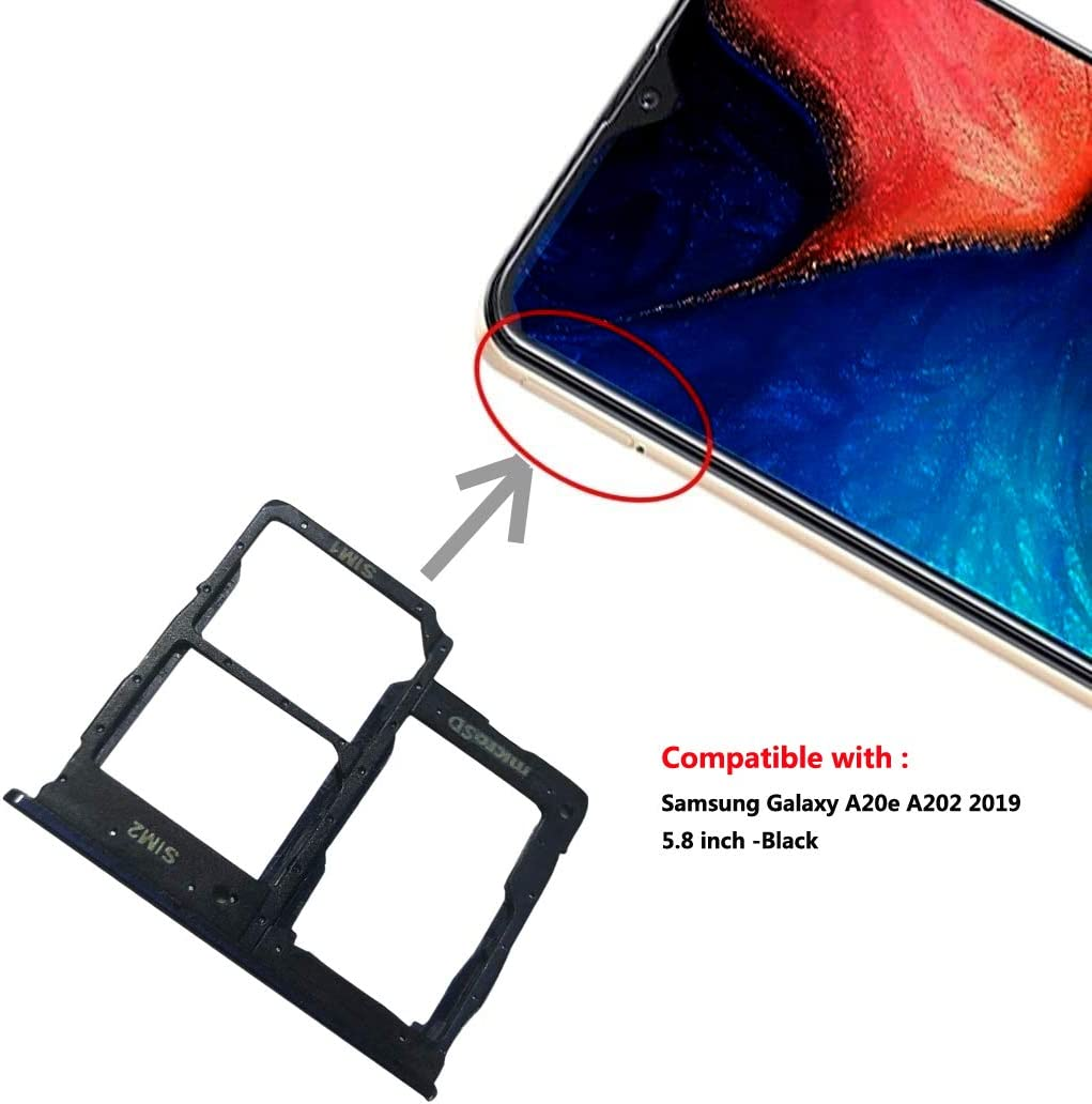 Slimall A20e Replacement Dual Sim Card Tray Holder Compatible with Samsung Galaxy A20e Open Eject Pin Black