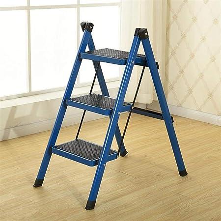 QI-shanping Taburete Plegable de Acero Antideslizante con peldaño Escalonado y Escalera Ancha para la casa y la Oficina, Capacidad de 330 lbs (Color : Blue): Amazon.es: Hogar