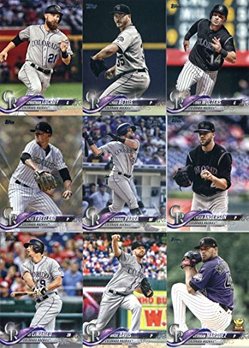 (2018 Topps Series 2 Baseball Colorado Rockies Team Set of 13 Cards: Jeff Hoffman(#356), Bryan Shaw(#363), Charlie Blackmon(#431), DJ LeMahieu(#449), Wade Davis(#511), German Marquez(#534), Ian Desmond(#559), Kyle Freeland(#586), Gerardo Parra(#604), Jonathan Lucroy(#667), Tyler Anderson(#668), Chad Bettis(#678), Tony Wolters(#688))