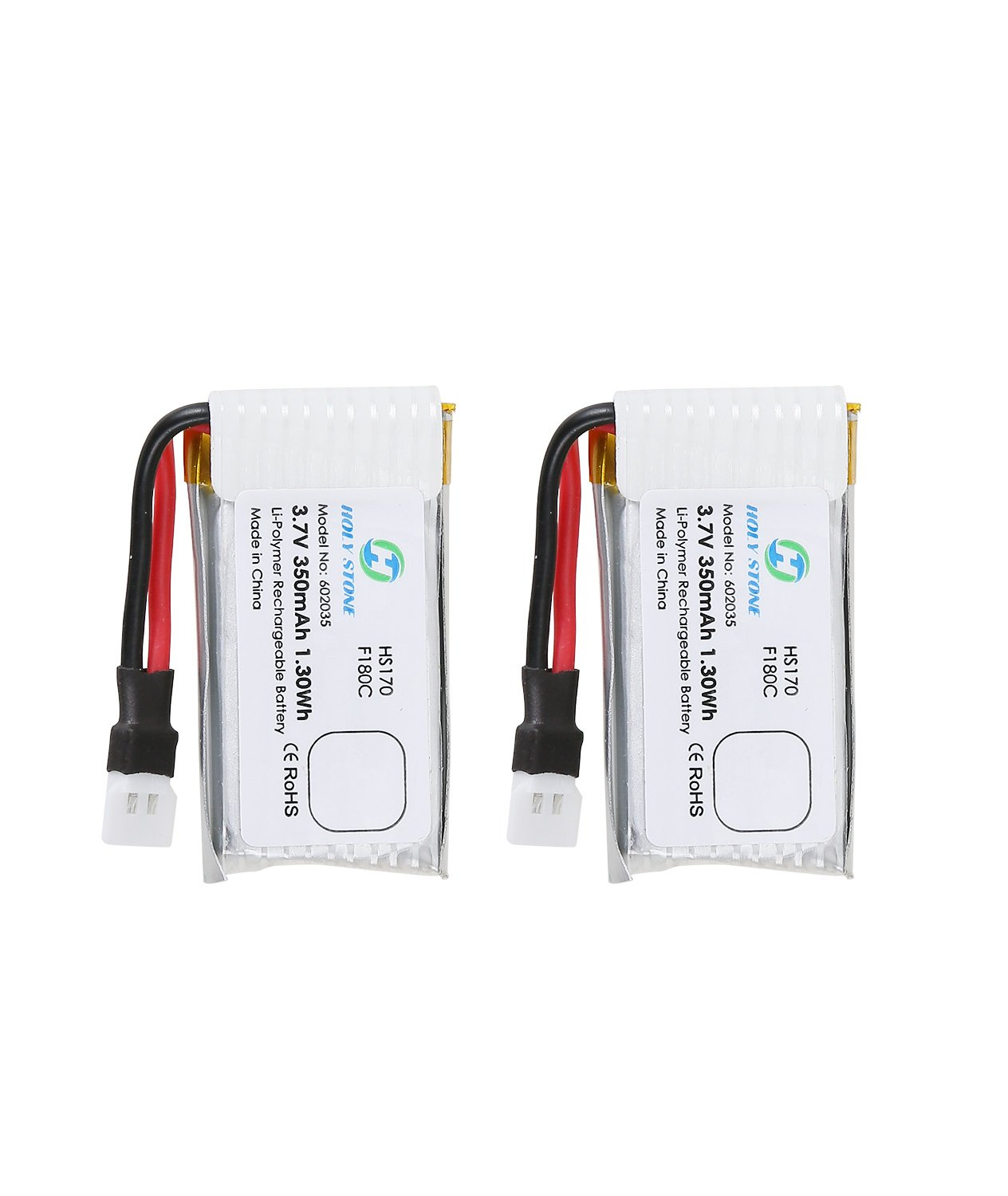 Holy Stone 2PCS 3.7V 350mAh Rechargeable Li Po RC Drone Batteries for HS170 HS170G