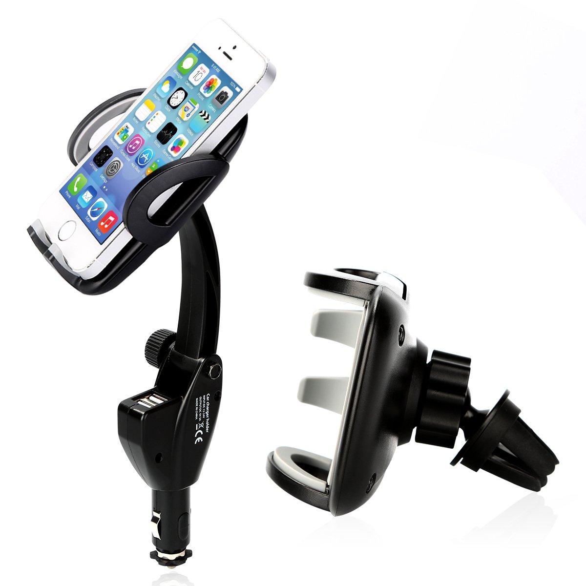 Car phone holder beschoi dual usb charging ports 360 degree swivel car mount for air vent cigarette lighter universal cradle for all smart phones mount
