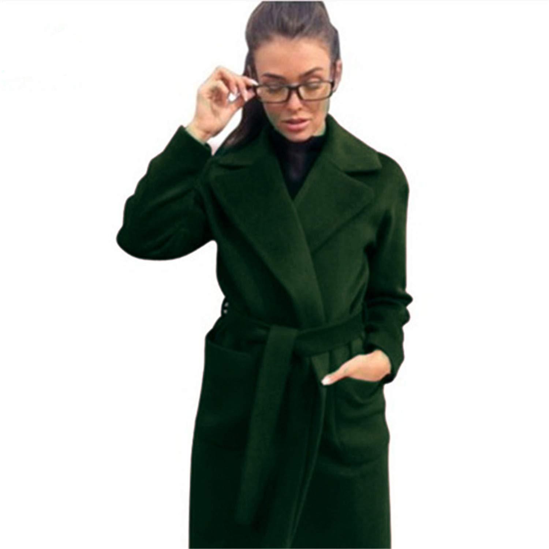 Green Turn Down Collar Long Wool Coat Elegant Winter Woman Wool Blend Coats Pockets Coat Outerwear