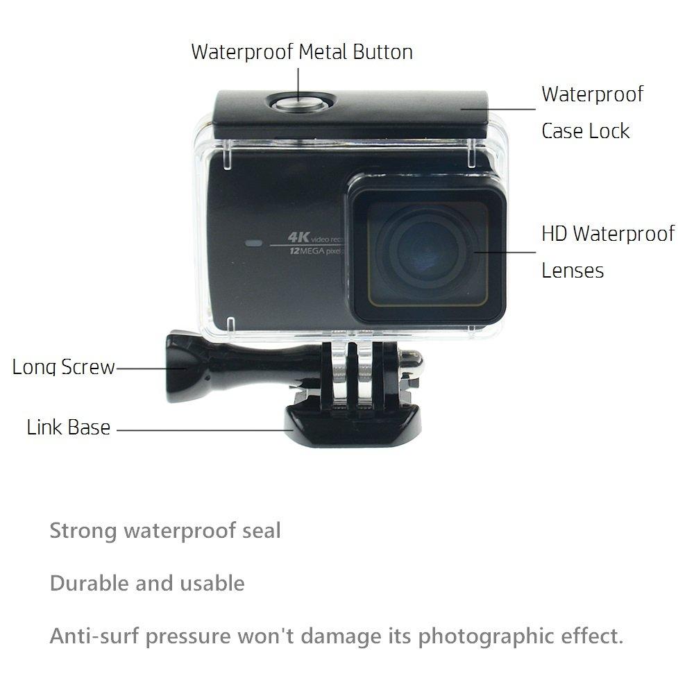 Carcasa impermeable para Xiaomi 4K, Yi 4K, apta para 45 metros bajo el agua con pantalla táctil trasera cubierta para uso bajo el agua, color ...