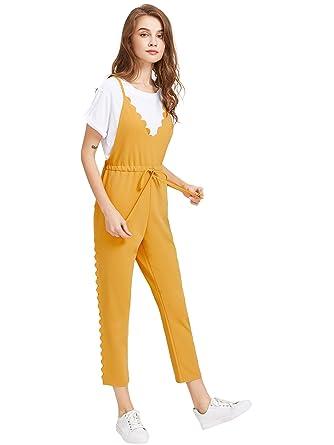 1a5266dfa31e2 Amazon.com  Romwe Women s V-Neck Floral Print Crop Cami Top with Elastic  Waist Wide Leg Pants Jumpsuit Set  Clothing