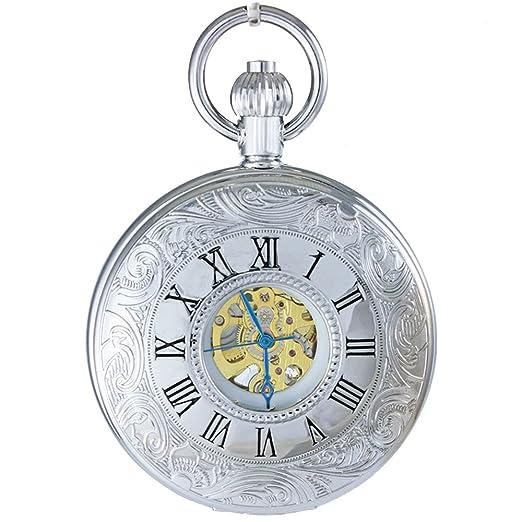 Ogle impermeable Digital de gran tamaño Cadena Plata Noctilucence plata romano Fob Self bobinado automático esqueleto mecánico reloj de bolsillo: Amazon.es: ...