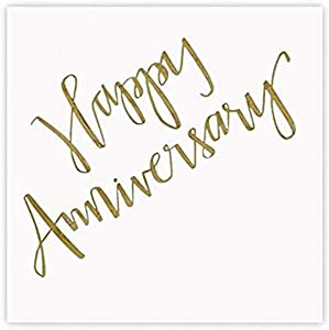 Creative Brands Slant Collections-20-Count Cocktail/Beverage Paper Napkins, 5 x 5-Inch, Happy Anniversary