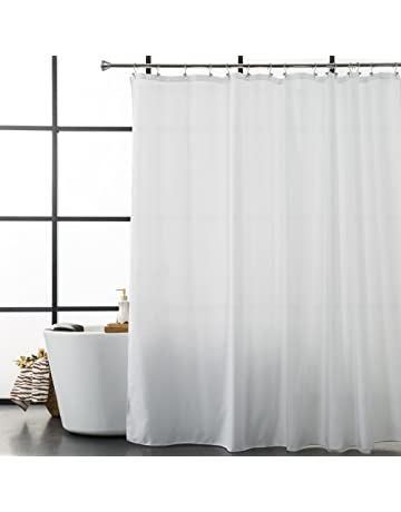 Aimjerry White Fabirc Shower Curtain For Bathroom With 12 Hooks72Hx72L