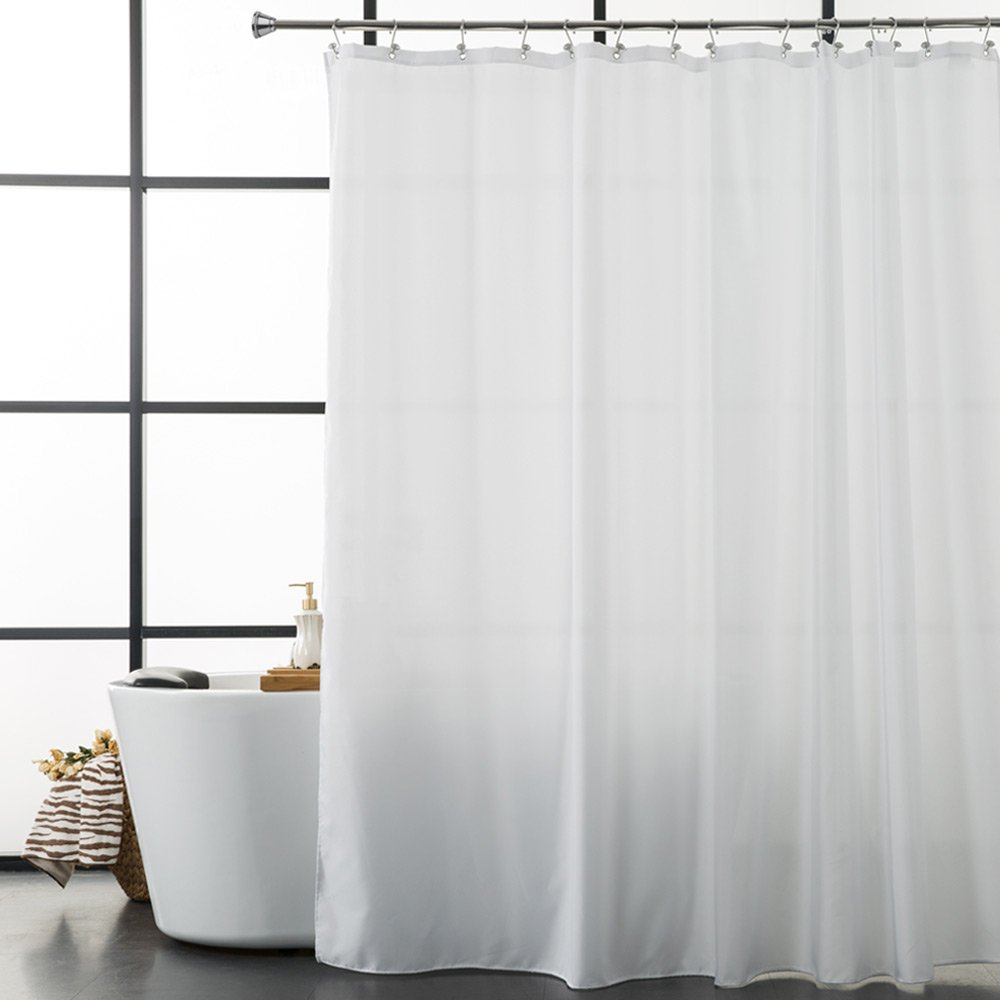 Aimjerry Fabric Shower Curtain Mold Resistant White 72 by 72 inch Hotel Quality Waterproof Polyester Bathroom Curtain