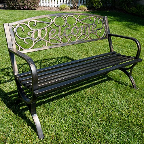 belleze 50 welcome vines decorative patio garden outdoor park bench seat backyard bronze. Black Bedroom Furniture Sets. Home Design Ideas