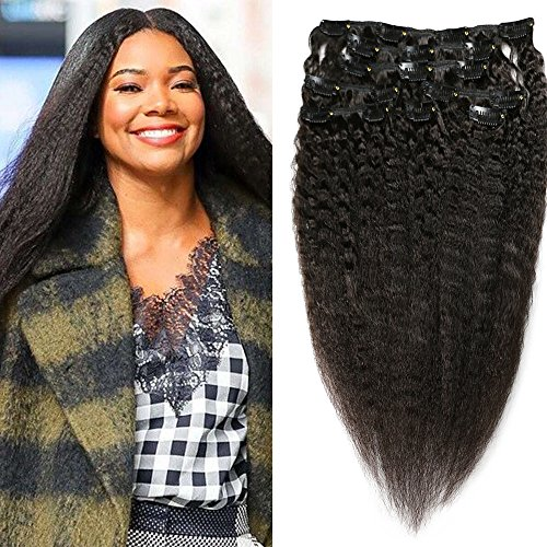 Kinky Straight Clips In Human Hair Extensions Coarse Yaki Cl