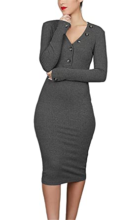 b5e03164095 noabat Women's Long Knits Sweater Business Office Dress Party Dress Gray  Medium