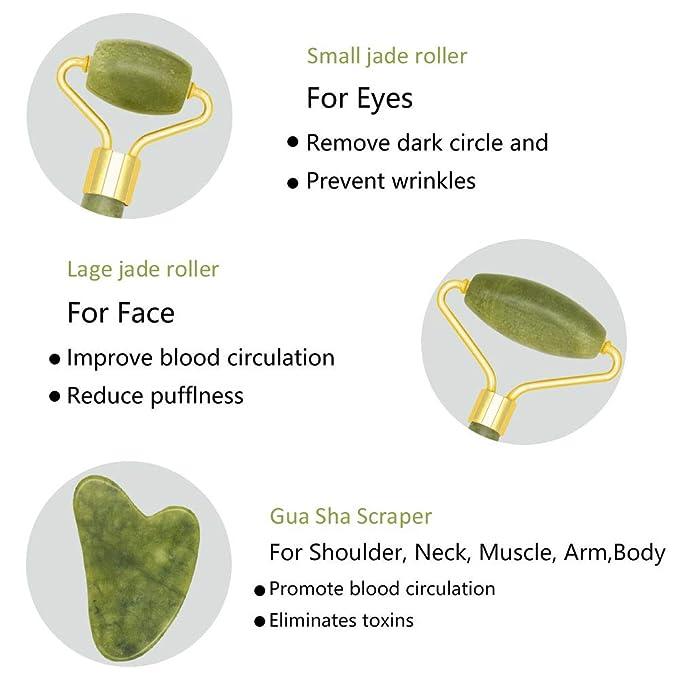 Rodillo de Jade,Jade Roller Masajeador,Facial Masaje Piedra Gua Sha Jade,Natural Jade Roller Masajeador Roller Tools,Anti Aging Belleza Natural ...