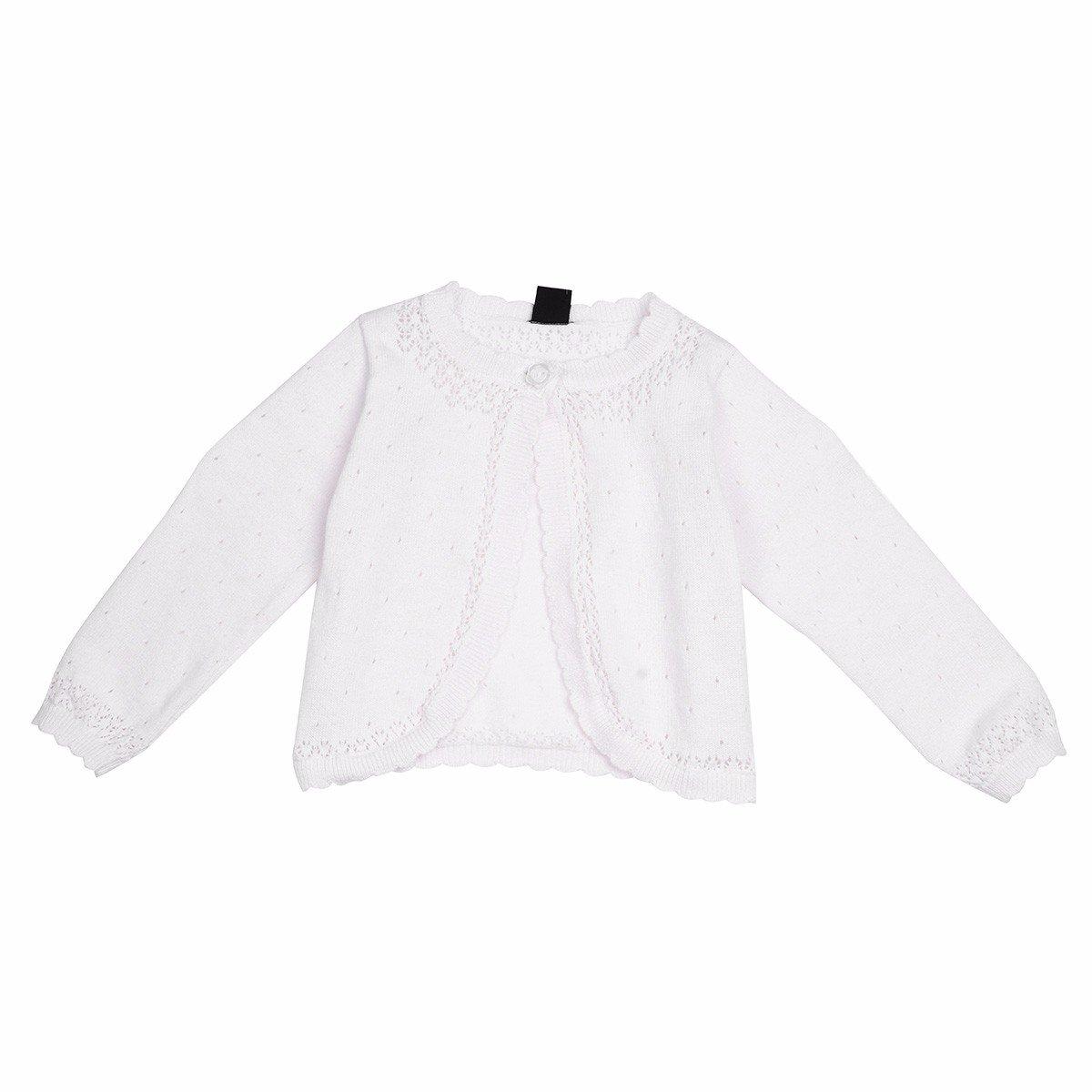 FEESHOW Baby Girls Long Sleeve Knit Cardigan Sweater Dress Cover Up Bolero Shrug White 18-24 Months (Tag Size XL)