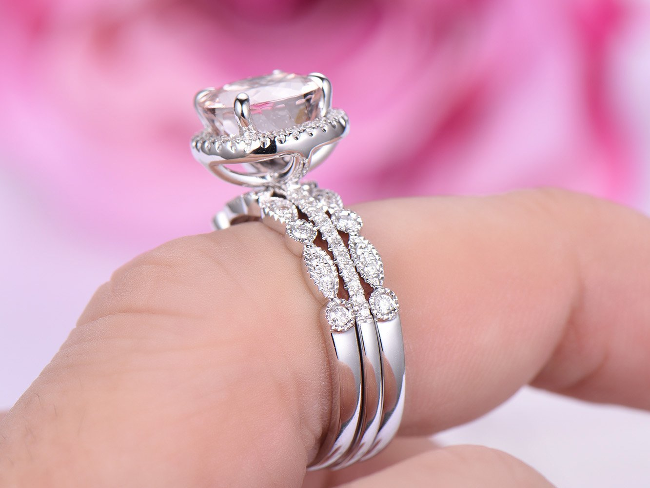 Amazon.com: Round Morganite Engagement Ring Trio Sets Pave Diamond ...