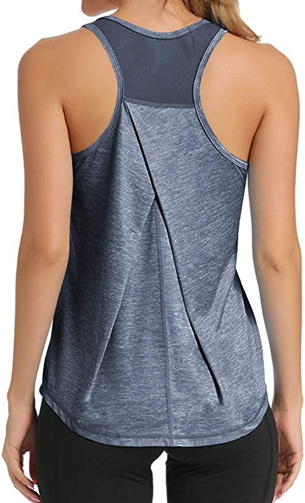 Dainzusyful Workout Yoga Tops for Women Sleeveless Exercise Athletic Pleated Gym Sport Shirts Running Tank Tops