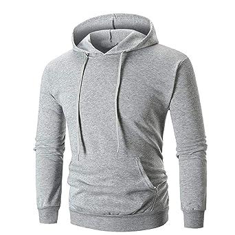 70363ff5e8c28 Longra Homme Chemise Solide Manche longue Manteau Mode Sweat à capuche  Encapuchonné Sweat-shirt Tops