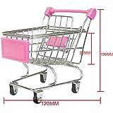 【ノーブランド 品】金属 プラスチック製 ミニショッピングカート トロリーおもちゃ 全9色選べる - ピンク