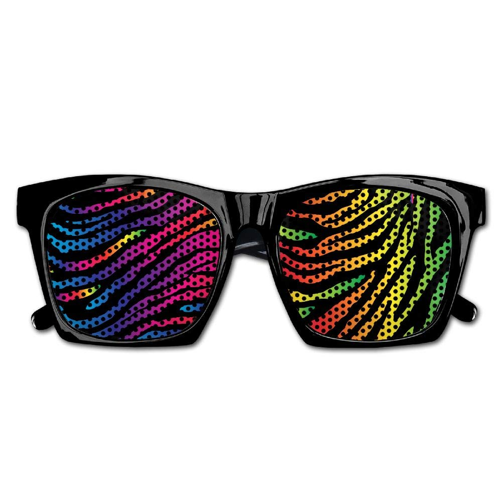 Xing Stars Colorful Summer Unisex Colorful Rainbow Zebra Pattern Fashion Party Costume Sunglasses