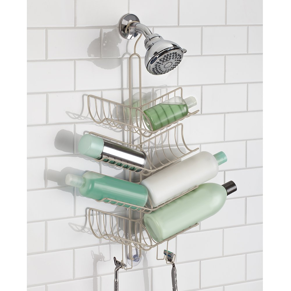 InterDesign Verona Handheld Hose Shower Caddy – Bathroom Storage Shelves for Shampoo, Conditioner and Soap, Satin