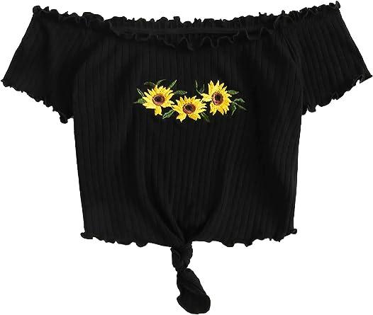 Shein Camiseta De Punto Acanalado Con Hombros Descubiertos Diseno De Girasol Bordado Para Mujer Negro Large Amazon Es Ropa Y Accesorios