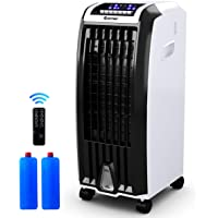 """COSTWAY Air Cooler, Portable Evaporative Air Cooler with Fan & Humidifier Bladeless Quiet Electric Fan w/Remote Control for Indoor Home Office Dorms (28"""" H)"""