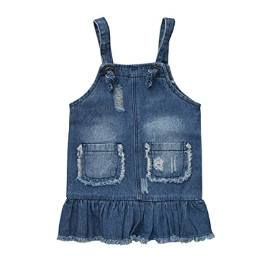 OPAKY Sleeveless Solid Pocket Hole Denim Niñas bebés Correas de ...
