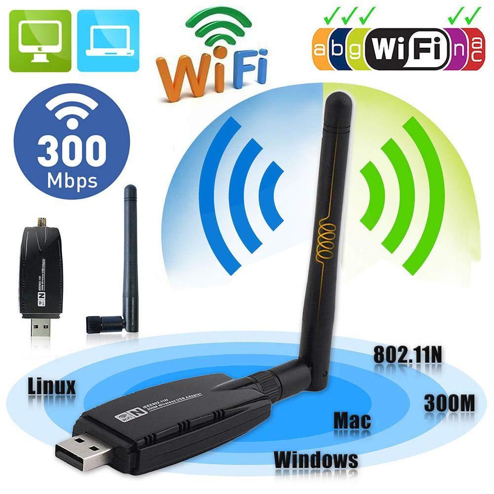 TFXHGGM Adaptateur réseau antenne Adaptateur WiFi USB 300Mbps sans fil + Dongle WiFi 3dBi pour Windows 7/8/10 / Ka