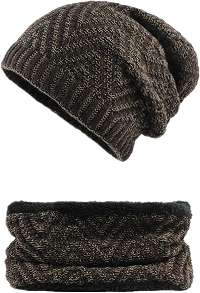 Knitted Winter Hats for Mens Autumn Warm Casual Hat Scarf Wool Fur Beanies Caps