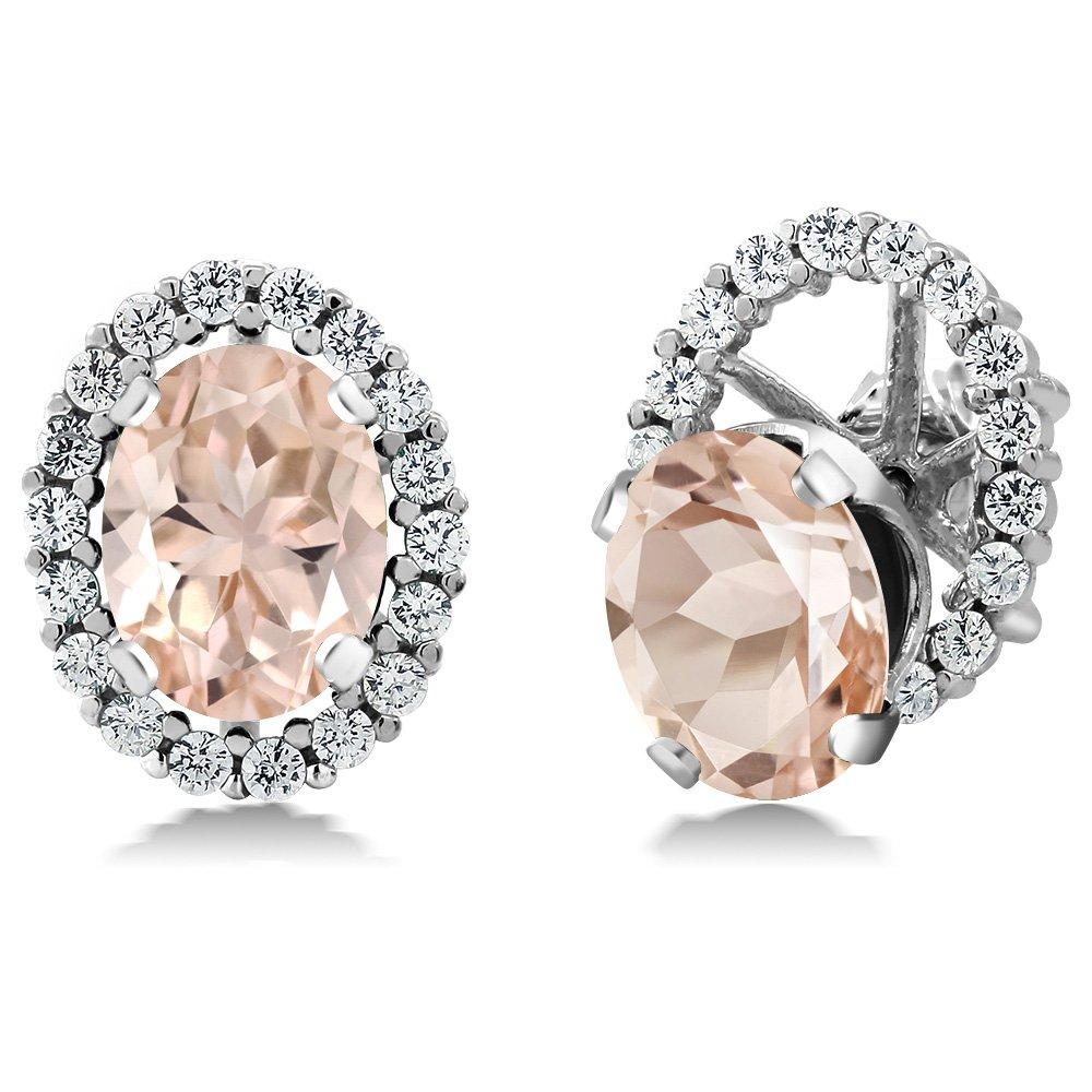 2.52 Ct Oval Peach Morganite 925 Sterling Silver Earrings