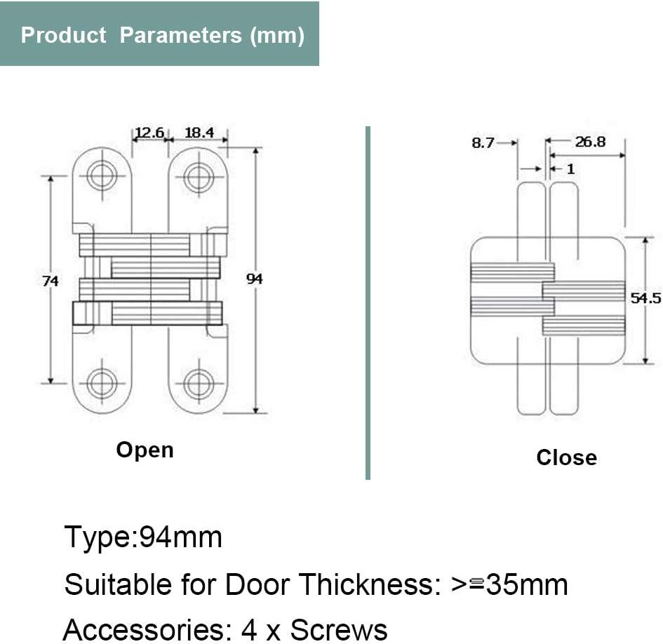 en alliage de zinc cach/é Charni/ère invisible Porte pliante Concealed Cross cach/é Charni/ères pour meuble mat/ériel Porte pliante 94mm