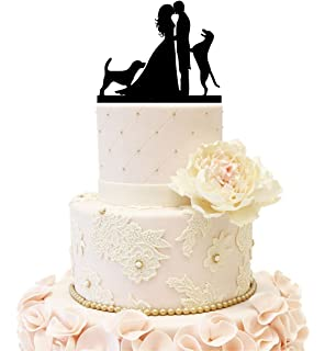 Wedding Anniverary Cake Topper Silhouette Bride Groom With 2 Dogs Black