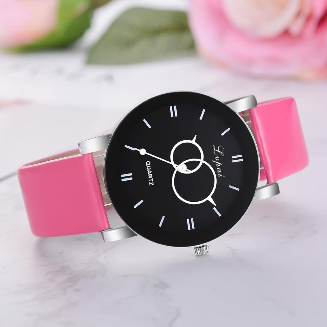Amazon.com: Womens Watches Ultra-thin Classic Analog Quartz Fashion Wrist Watch with Leather strap,GINELO (Pink): Cell Phones & Accessories