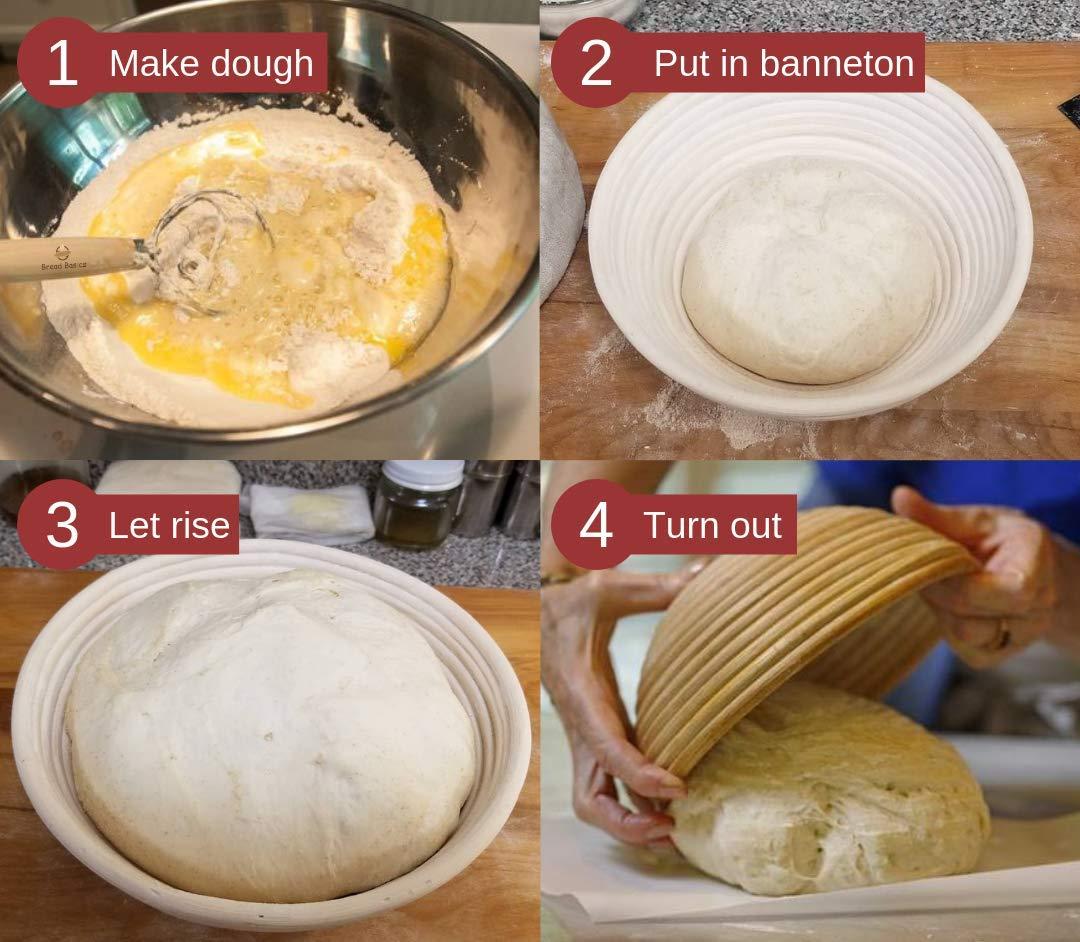 BreadBasics Banneton Proofing Basket   Premium Homemade Bread Starter Kit for Beginners   Includes Step by Step eBook, Bowl Scraper & Whisk, Lame, Brotform Liner, Cleaning Brush   Sourdough Supplies by BreadBasics (Image #4)