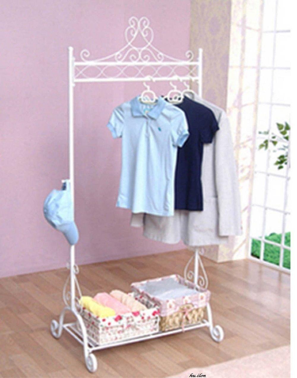 Generic elf Storageging Stand Vint Clothes Hanging Garment Rack Stand Vintage Stand Closet White Shelf Storage Garment Rack Sta