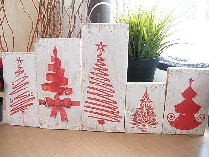 Navidad-Árbol de Navidad Madera-Decoración Navideña Original-Adorno Madera Estilo Vintage-