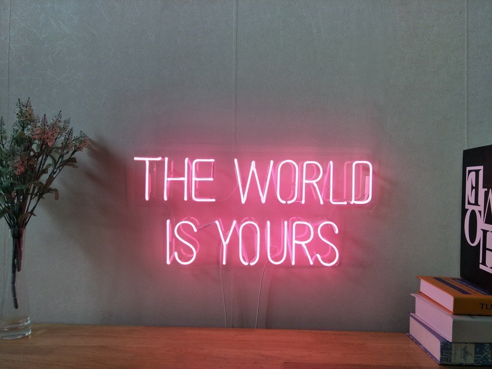The World Is Yours Custom Dimmable LED Neon Signs for Wall Decor Customization Options: Color, Size, Dimming, Wall Mounted, Desktop Type, Hanging in a Window//Ceiling, Electrical//Battery powered