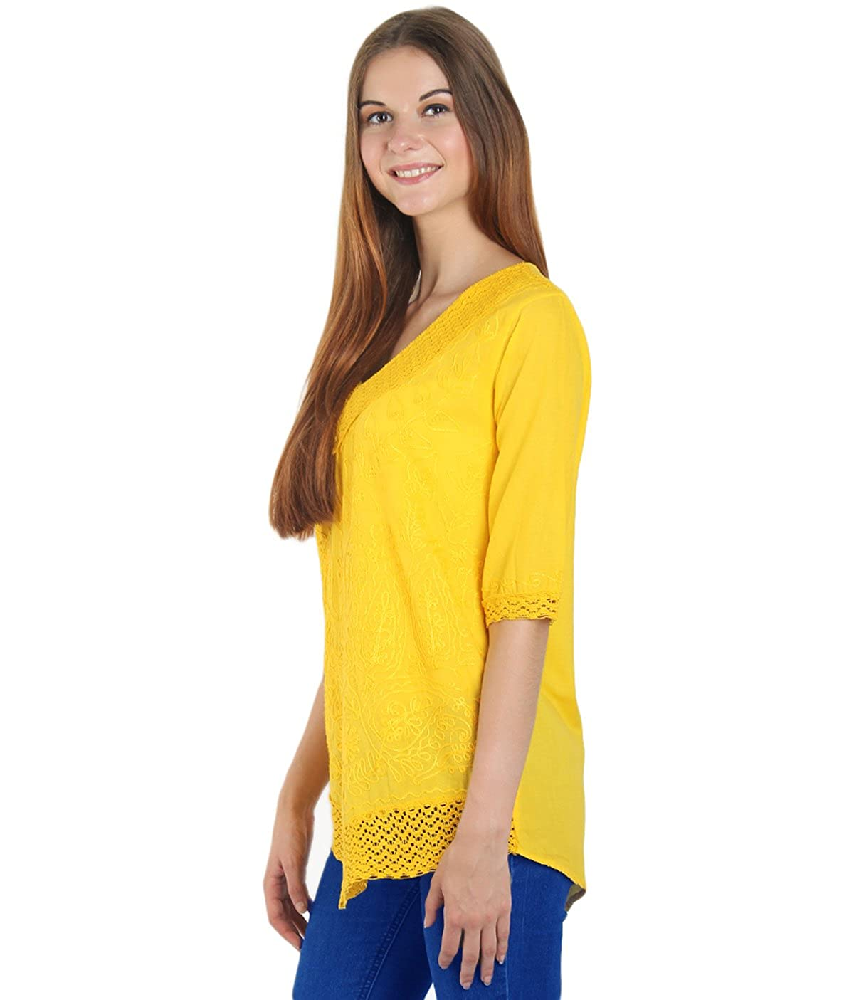 c6193194d5c3 Amazon.com  Arovi Women Pure Cotton Hand Embroidered 3 4 Sleeve V Neck Loose  Indian Tunics   Tops For Women Yellow-Large  Clothing