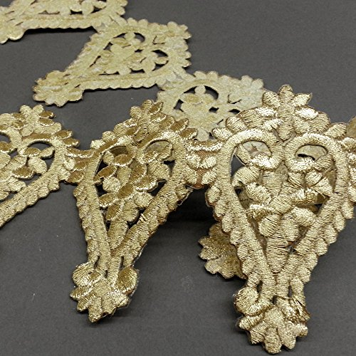 [Iron on Metallic Lace Trim for Bridal, Costume or Jewelry, Crafts and Sewing, 3-7/8 Inch by 1 Yard,] (Costumes Jewelry Supplies)