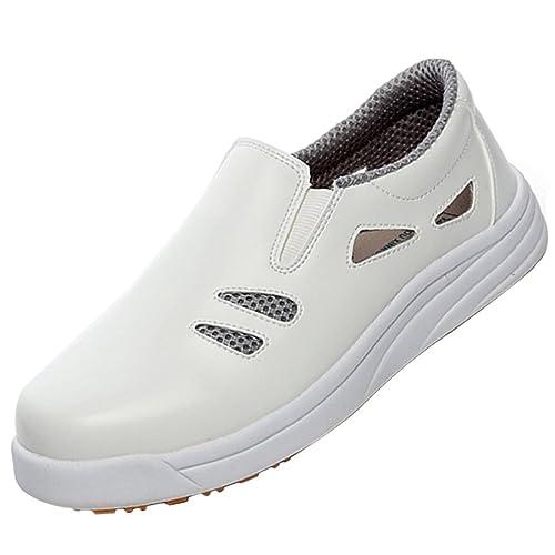 la moitié 43653 fea9c Pinji Chaussures de Cuisine Sabot de Cuisinier Chef Antidérapantes et  Anti-Huile pour Travail Industrie Agro Alimentaire